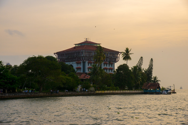 Port Trust Administration Office view from the ferry on Vembanad Lake, Kochi, Kerala, India. The ferry connects to Fort Kochi as well as Marine drive.