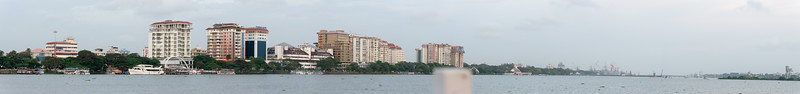 Panoramic view of Marine Drive from the ferry on Vembanad Lake, Kochi, Kerala, India.