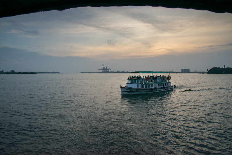View from the ferry on Vembanad Lake, Kochi, Kerala, India. The ferry connects to Fort Kochi as well as Marine drive.