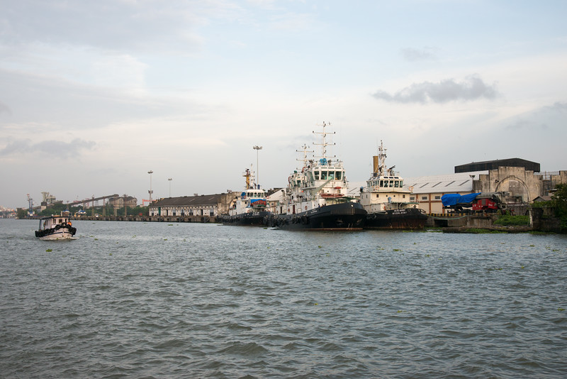 Ernakulam Wharf (എറണാകുളം കടവ്) view from the ferry on Vembanad Lake, Kochi, Kerala, India. The ferry connects to Fort Kochi as well as Marine drive.