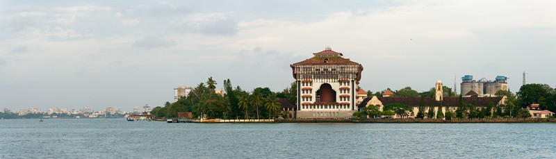 Panoramic view of Port Trust Administration Office and Vivanta By Taj - Malabar as viewed from the ferry on Vembanad Lake, Kochi, Kerala, India. The ferry connects to Fort Kochi as well as Marine drive.
