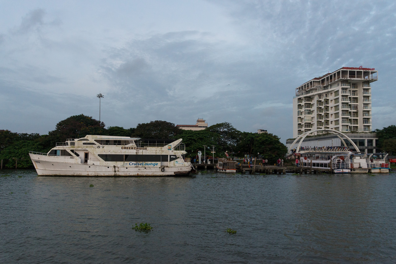 View of Marine Drive from the ferry on Vembanad Lake, Kochi, Kerala, India.