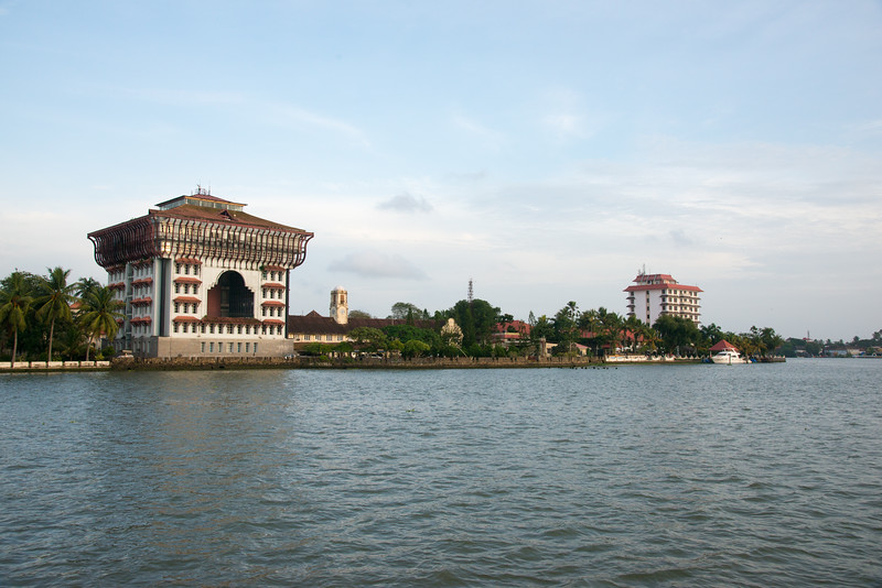 View from the ferry on Vembanad Lake, Kochi, Kerala, India of Port Trust Administration Office. The ferry connects to Fort Kochi as well as Marine drive.