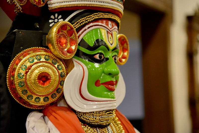 """Kathakali in Kerala, India. <br /> <br /> Munnar ( മുന്നാർ ) is situated on the Kannan Devan Hills ( KDH ) Village in Devikulam taluk. Munnar is a famous hill station on the Western Ghats of India. A range of mountains situated in the Idukki district of the Indian state of Kerala. The name Munnar means """"three rivers"""", referring to the town's strategic location at the confluence of the Madhurapuzha, Nallathanni and Kundaly rivers."""