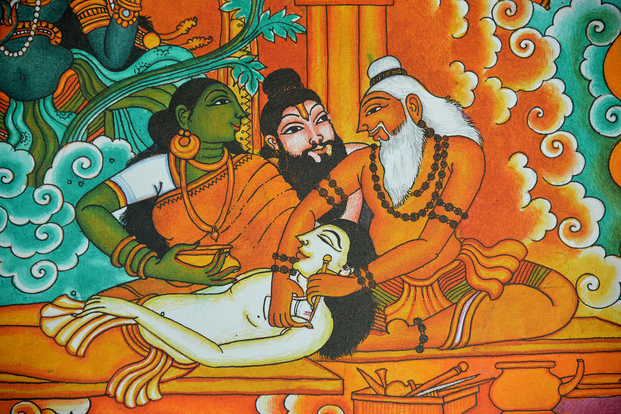 Ayurveda depicted on murals at Club Mahindra Resort, Thekkady. <br /> <br /> Thekkady (Idukki district) in Kerala is the location of the Periyar National Park, which is an important tourist attraction in India. Thekkady sanctuary is located near the Kerala-Tamil Nadu state border and is famous for its dense evergreen, semi-evergreen, moist deciduous forests and savanna grass lands. It is home to herds of elephants, sambar, tigers, gaur, lion-tailed Macaques and Nilgiri Langurs.