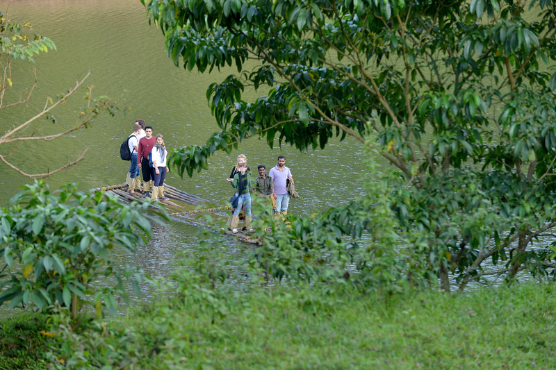 Visitors of all nationalities come to the Periyar National Park.<br /> <br /> Thekkady (Idukki district) in Kerala is the location of the Periyar National Park, which is an important tourist attraction in India. Thekkady sanctuary is located near the Kerala-Tamil Nadu state border and is famous for its dense evergreen, semi-evergreen, moist deciduous forests and savanna grass lands. It is home to herds of elephants, sambar, tigers, gaur, lion-tailed Macaques and Nilgiri Langurs.<br /> <br /> The Periyar Wildlife Sanctuary is spread across 777 km (300 sq mi), of which 360 km (140 sq mi) is thick evergreen forest. This wild life sanctuary was declared a Tiger Reserve in 1978. The splendid artificial lake formed by the Mullaperiyar Dam across the Periyar River adds to the charm of the park. Thekkady is also a heaven for natural spices such as black pepper, cardamom, cinnamon and clove.