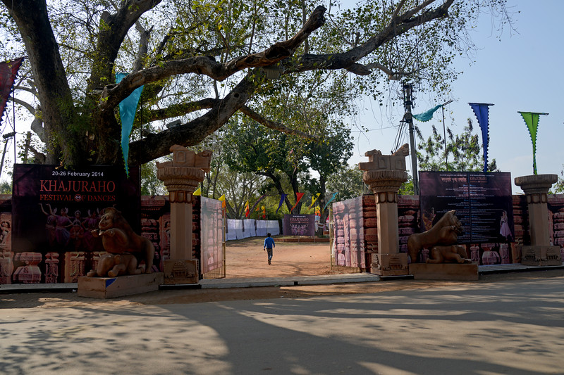 Entrance to the Dance Festival.<br /> Khajuraho - Land Of The Moon God is located in the Indian state of Madhya Pradesh (MP) and roughly 620 kilometers (385 miles) southeast of New Delhi. Khajuraho was the cultural capital of the Chandela Rajputs, a Hindu dynasty that ruled from the 10th to 12th centuries.