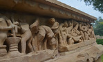 A few stone carvings depict erotic and sexual acts at Khajuraho. Khajuraho - Land Of The Moon God is located in the Indian state of Madhya Pradesh (MP) and roughly 620 kilometers (385 miles) ...