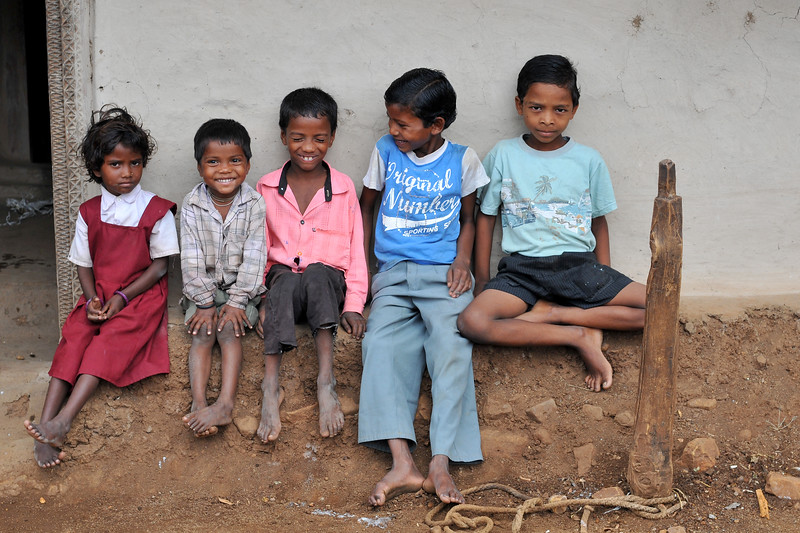 Children in a village in rural India in the state of Maharashtra.