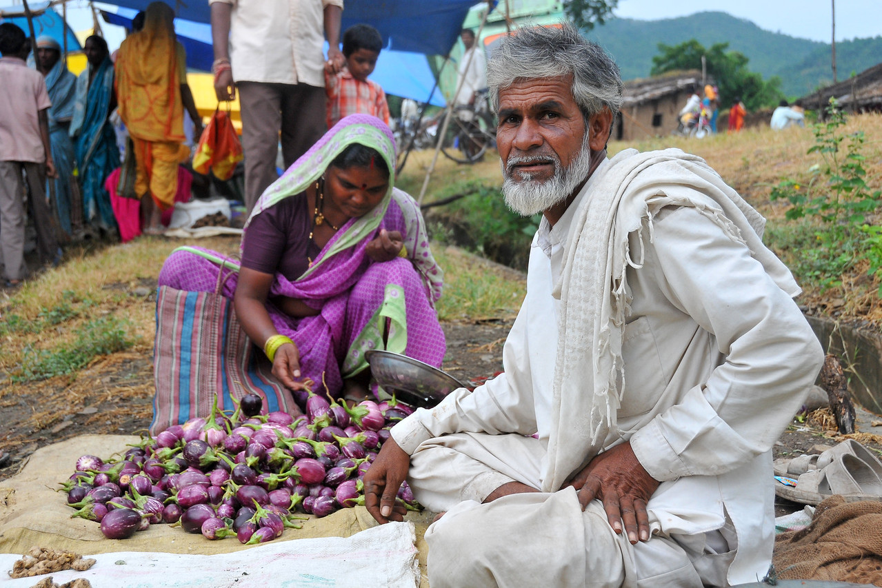 Vegetables at the local village haat (fair) in rural India in the border between the state of Maharashtra and Madhya Pradesh (MP).