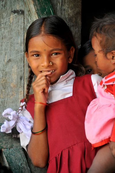 Young villagers<br /> Villages in rural India in the state of Maharashtra.