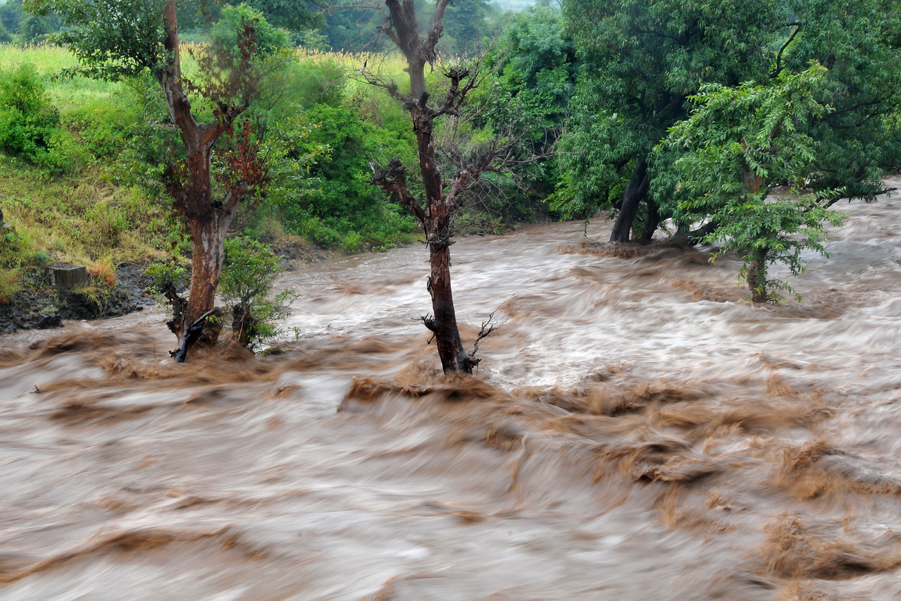 Heavy rains cause top soil erosion. Villages in rural India in the state of Maharashtra.
