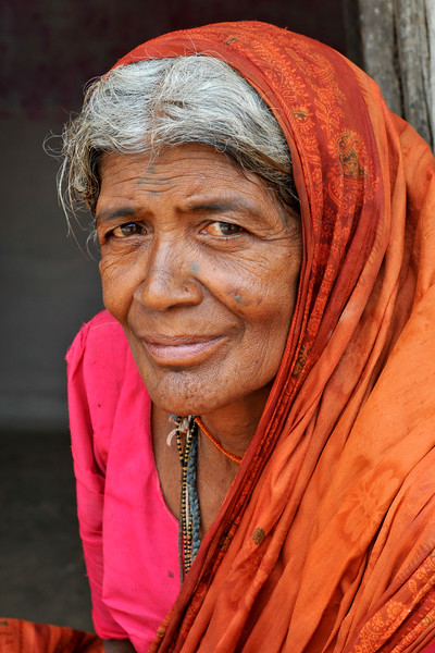 Old lady in their village in Maharashtra.