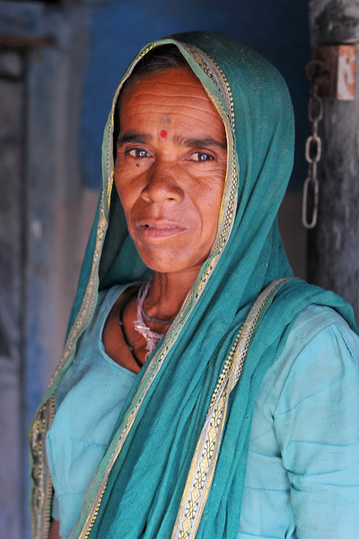 Portrait of a woman in her village.<br /> Villages in rural India in the state of Maharashtra.