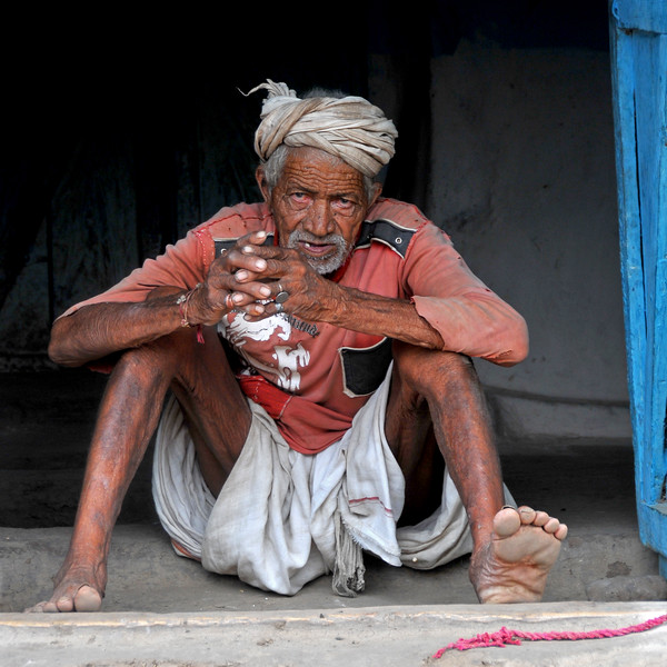 Portrait of an old man in a Maharashtrian village. Villages in rural India in the state of Maharashtra.