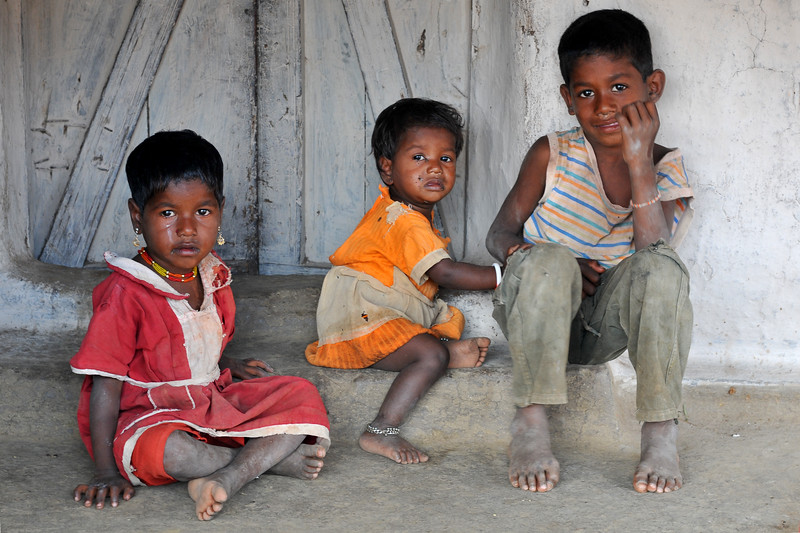 Young children in their village.<br /> Villages in rural India in the state of Maharashtra.