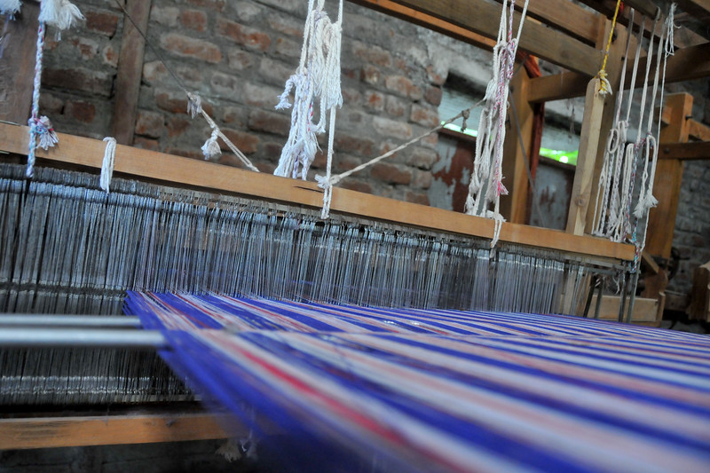 Local hand looms in the village run by SHG (Self Help Group) women.<br /> Villages in rural India in the state of Maharashtra.
