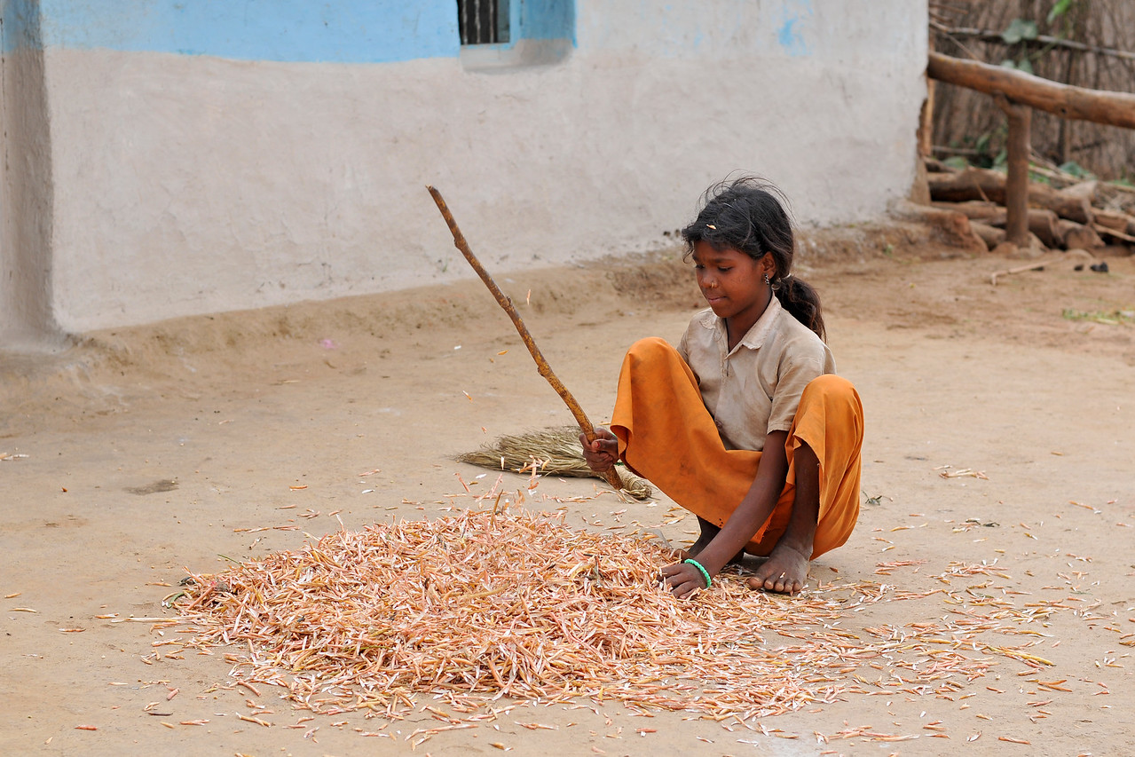 Village activity. <br /> Villages in rural India in the state of Maharashtra.