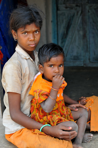 Youngster in her village. Villages in rural India in the state of Maharashtra.