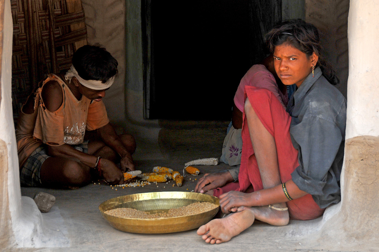 Sorting corn in a Maharshtrian village. Villages in rural India in the state of Maharashtra.
