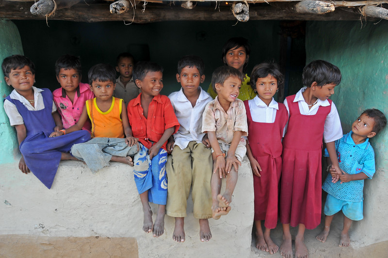 Group of children in the village.<br /> Villages in rural India in the state of Maharashtra.