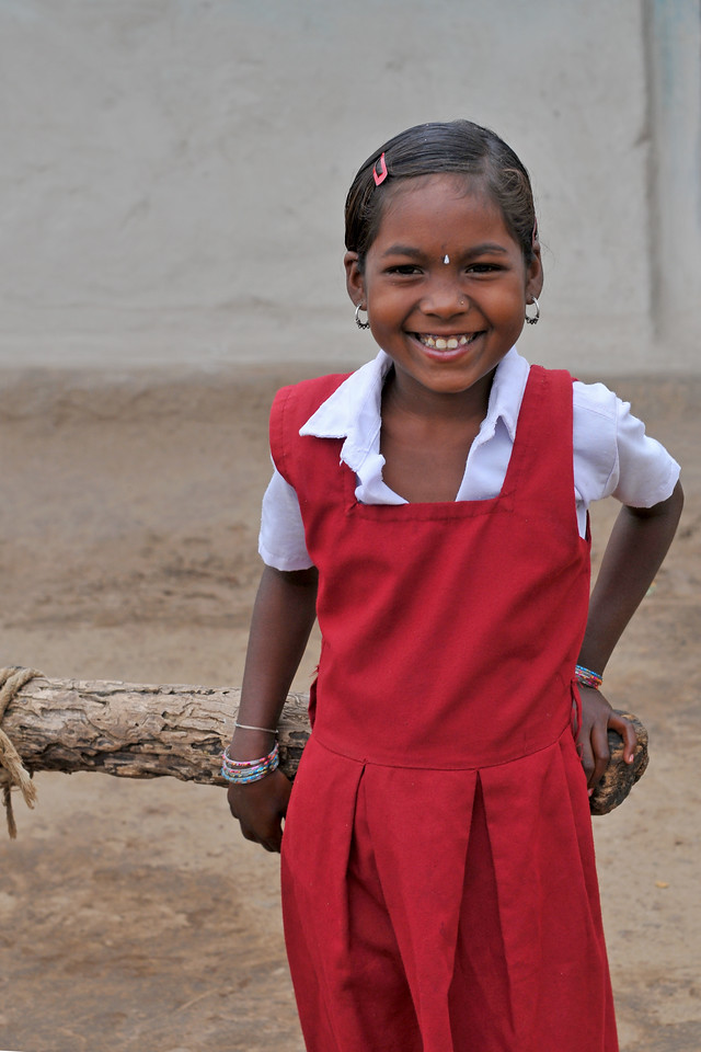 Children in school uniform returned from thei school.<br /> Villages in rural India in the state of Maharashtra.