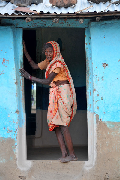 Old lady in a village in rural India in the state of Maharashtra.
