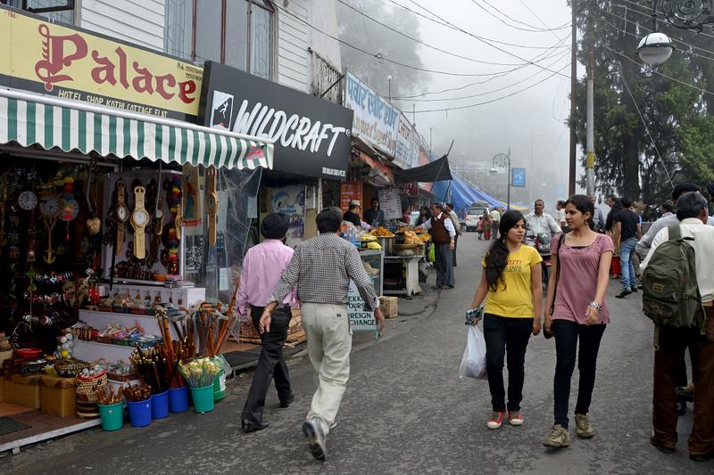 Market road in Mussoorie, Uttaranchal, India