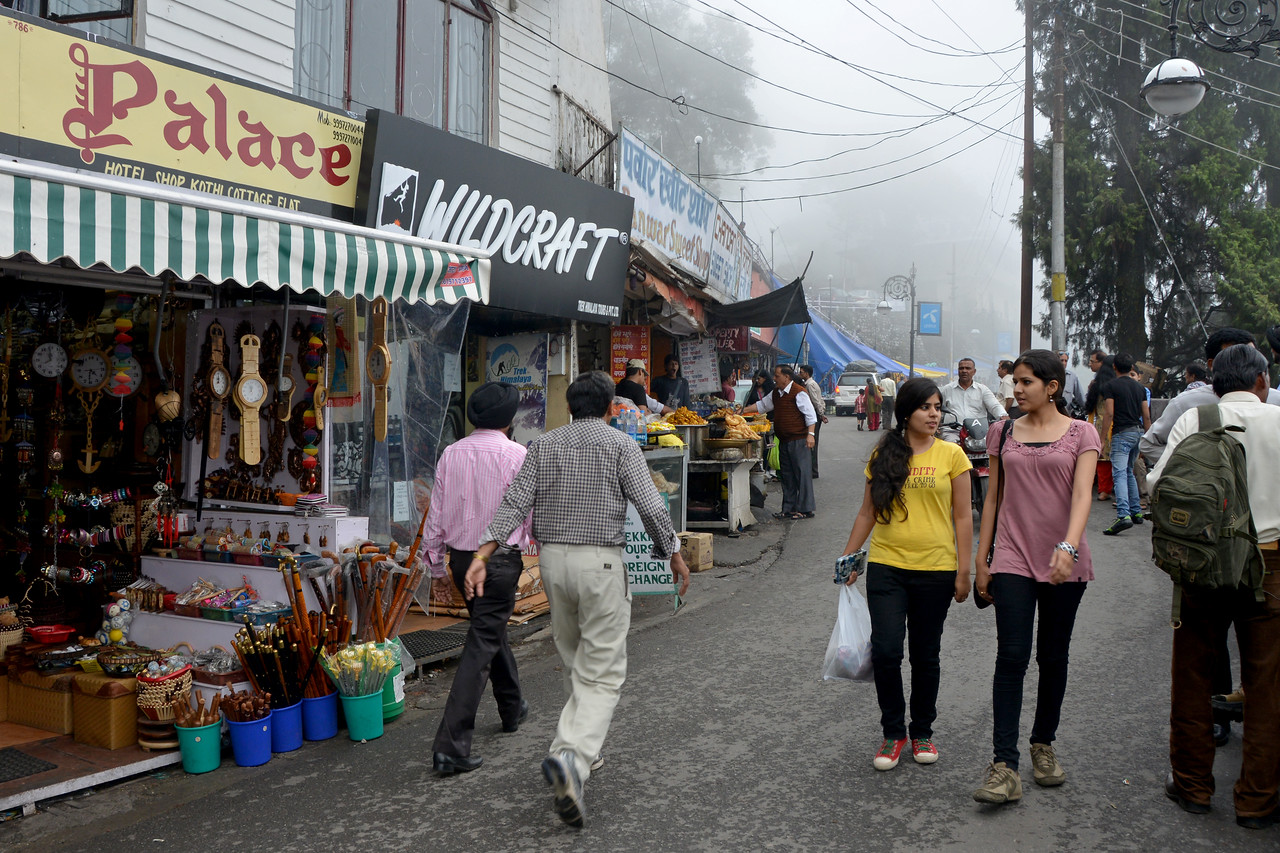 Market road in Mussoorie, Uttaranchal, India