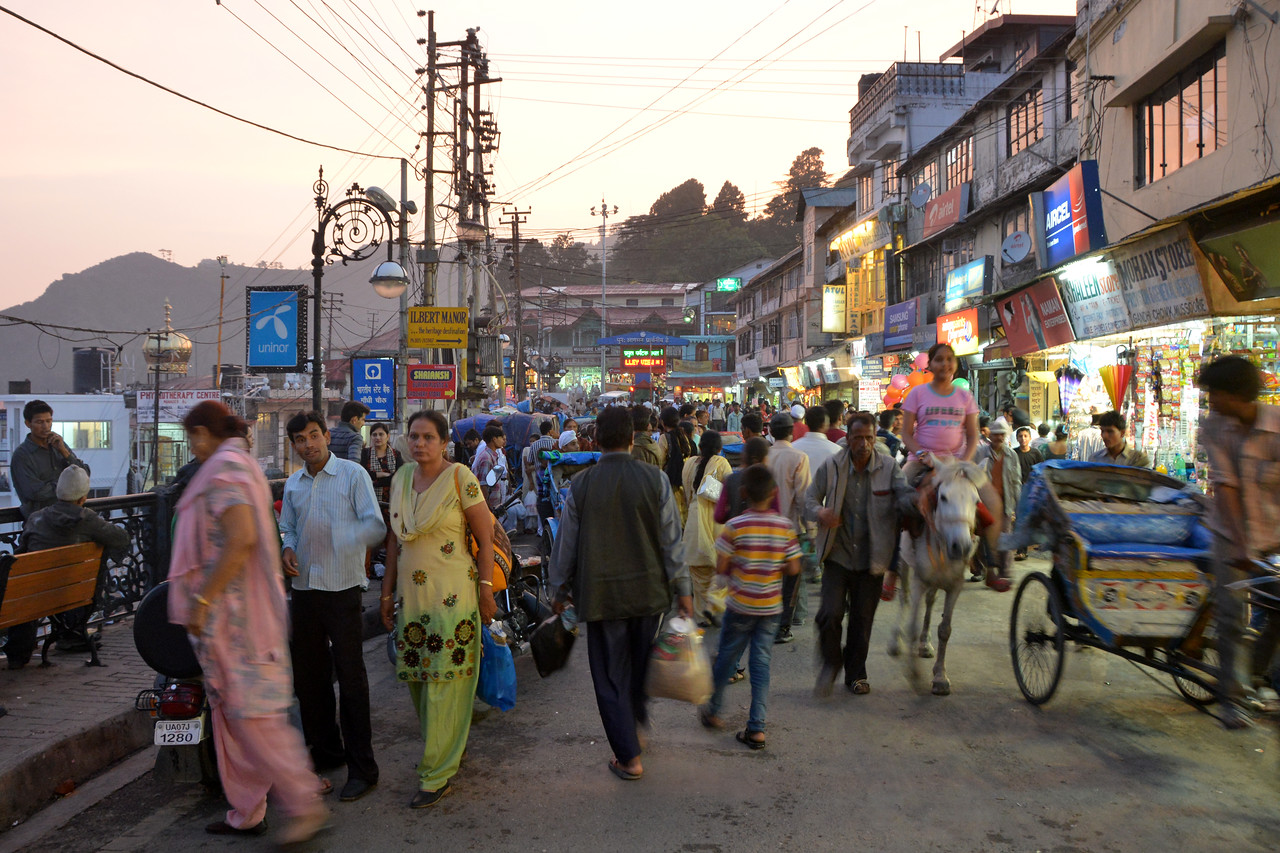 Main market area in Mussoorie, Uttaranchal, India
