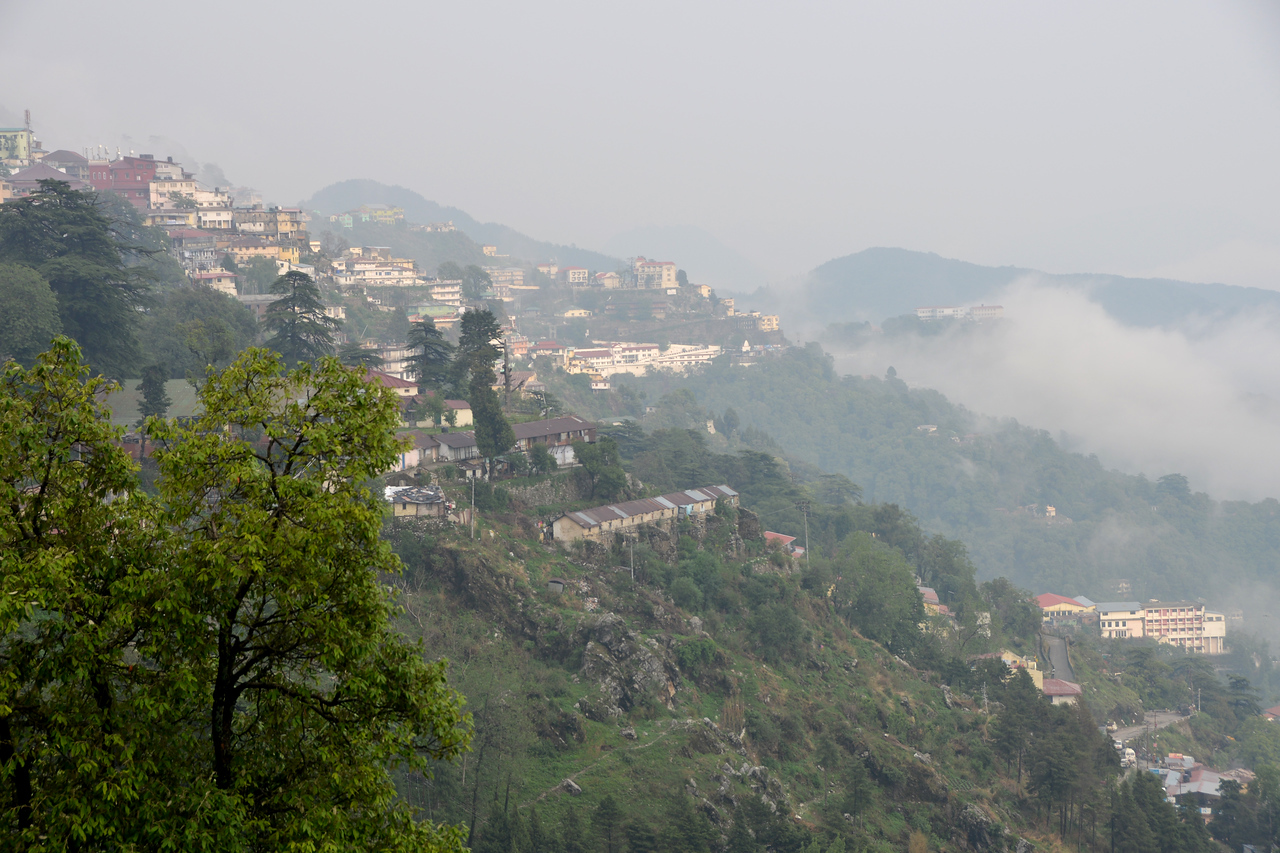 Misty view of Mussoorie, Uttaranchal, India