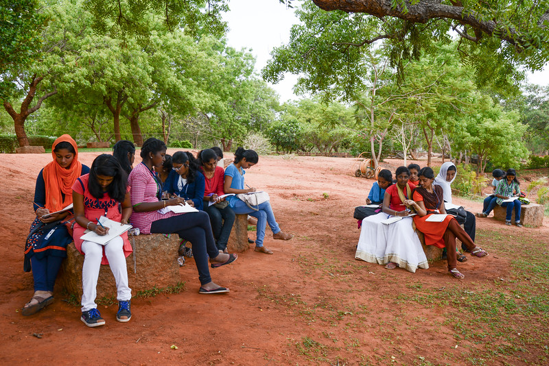 Arts students drawing at Matrimandir View Point, Auroville, Pudducherry, South India.