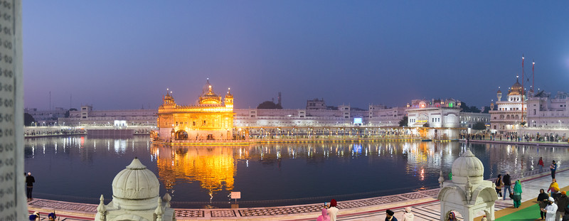 "Panoramic pre-dawn view of The Harmandir Sahib (Punjabi: ਹਰਿਮੰਦਰ ਸਾਹਿਬ), (The abode of God), also  called the ""Golden Temple"", which is the holiest Sikh gurdwara located in the city of Amritsar, Punjab, North India."