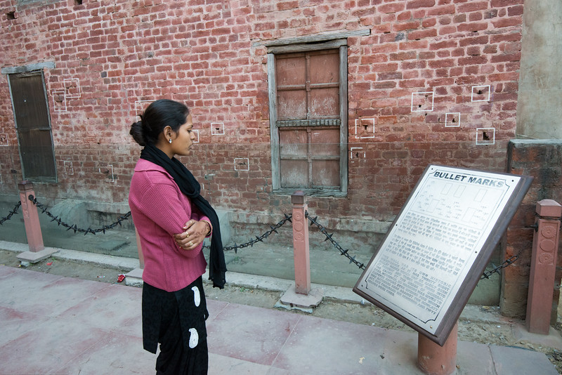 Bullet marks, visible on preserved walls, at present-day Jallianwala Bagh.<br /> The Jallianwala Bagh massacre (Amritsar massacre), took place on 13 April 1919 when a crowd of peaceful, unarmed, non-violent protesters comprising of men & women including Baishakhi pilgrims had gathered in Jallianwala Bagh, Amritsar, Punjab. They were fired upon by troops of the British Indian Army under the command of Colonel Reginald Dyer killing 1,500 innocent people.