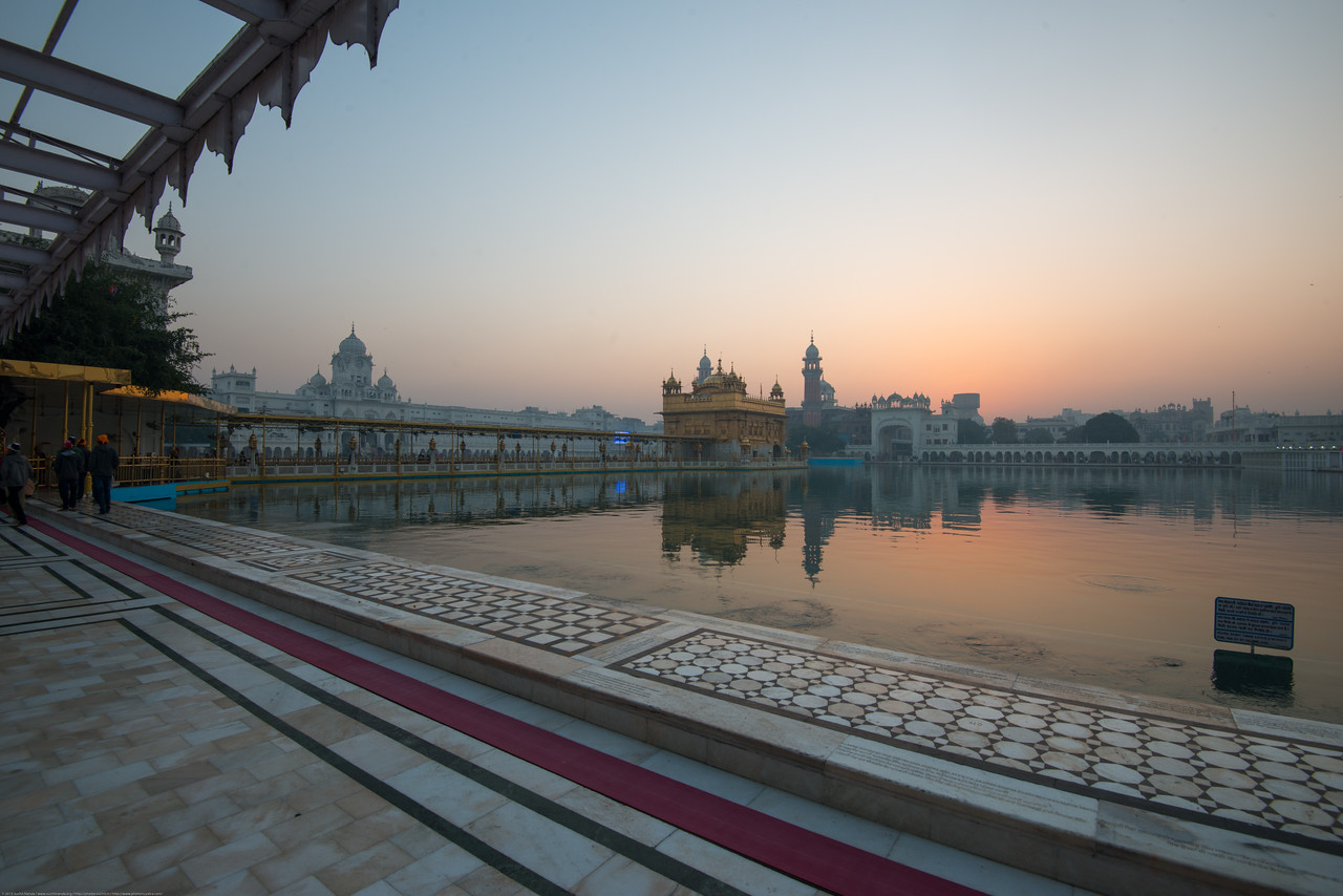 """Just before dawn at The Harmandir Sahib (Punjabi: ਹਰਿਮੰਦਰ ਸਾਹਿਬ), also Darbar Sahib (Punjabi: ਦਰਬਾਰ ਸਾਹਿਬ, )(The abode of God), and informally called the """"Golden Temple"""", is the holiest Sikh gurdwara located in the city of Amritsar, Punjab, North India."""