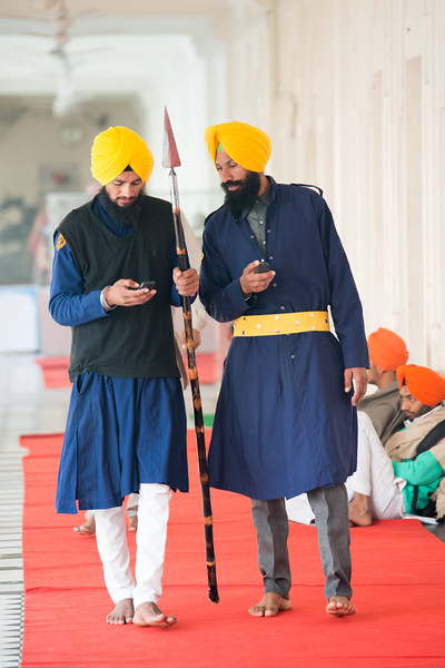 "Alert and watchful guards at The Harmandir Sahib (Punjabi: ਹਰਿਮੰਦਰ ਸਾਹਿਬ), also Darbar Sahib (Punjabi: ਦਰਬਾਰ ਸਾਹਿਬ, )(The abode of God), and informally called the ""Golden Temple"", is the holiest Sikh gurdwara located in the city of Amritsar, Punjab, North India."