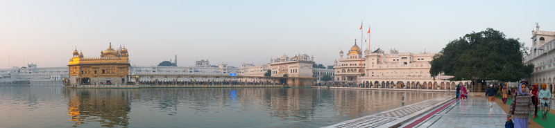"Panoramic view at sunrise of The Harmandir Sahib (Punjabi: ਹਰਿਮੰਦਰ ਸਾਹਿਬ), (The abode of God), also  called the ""Golden Temple"", which is the holiest Sikh gurdwara located in the city of Amritsar, Punjab, North India."