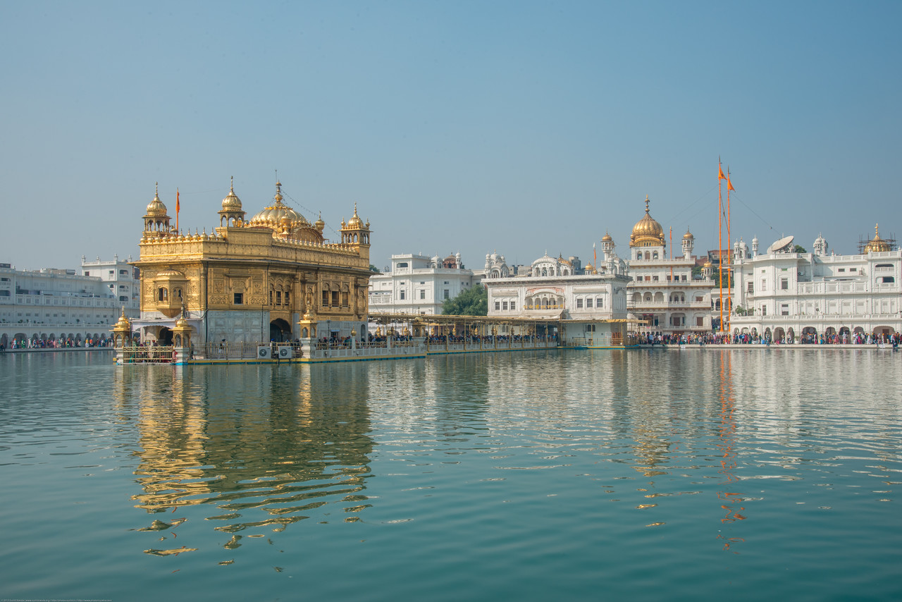 "The Harmandir Sahib (Punjabi: ਹਰਿਮੰਦਰ ਸਾਹਿਬ), also Darbar Sahib (Punjabi: ਦਰਬਾਰ ਸਾਹਿਬ, )(The abode of God), and informally called the ""Golden Temple"", is the holiest Sikh gurdwara located in the city of Amritsar, Punjab, North India."