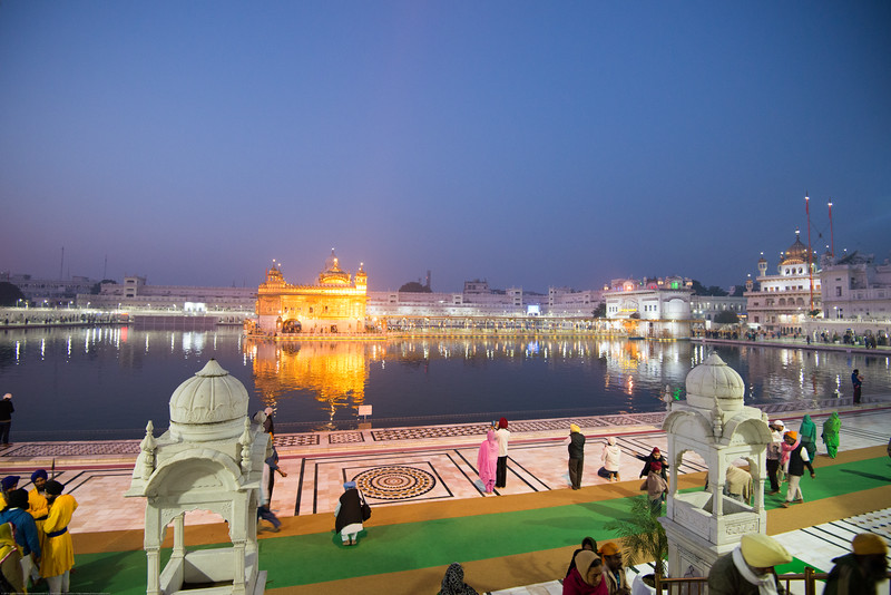"Predawn at the Golden Temple.<br /> The Harmandir Sahib (Punjabi: ਹਰਿਮੰਦਰ ਸਾਹਿਬ), also Darbar Sahib (Punjabi: ਦਰਬਾਰ ਸਾਹਿਬ, )(The abode of God), and informally called the ""Golden Temple"", is the holiest Sikh gurdwara located in the city of Amritsar, Punjab, North India."