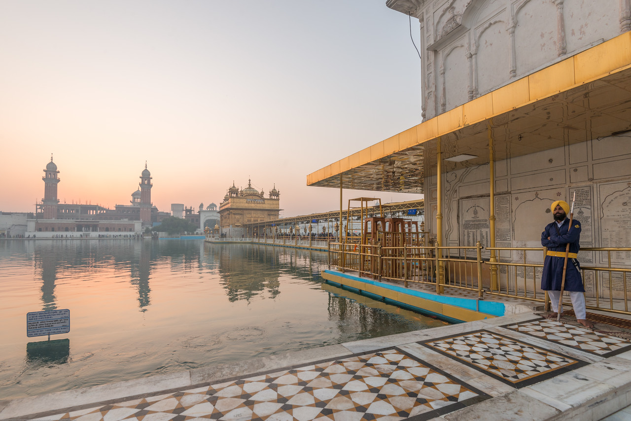 """Early morning at The Harmandir Sahib (Punjabi: ਹਰਿਮੰਦਰ ਸਾਹਿਬ), also Darbar Sahib (Punjabi: ਦਰਬਾਰ ਸਾਹਿਬ, )(The abode of God), and informally called the """"Golden Temple"""", is the holiest Sikh gurdwara located in the city of Amritsar, Punjab, North India."""