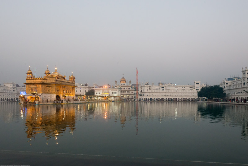 "Morning view at The Harmandir Sahib (Punjabi: ਹਰਿਮੰਦਰ ਸਾਹਿਬ), also Darbar Sahib (Punjabi: ਦਰਬਾਰ ਸਾਹਿਬ, )(The abode of God), and informally called the ""Golden Temple"", is the holiest Sikh gurdwara located in the city of Amritsar, Punjab, North India."