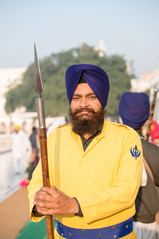 """Alert and watchful guards at The Harmandir Sahib (Punjabi: ਹਰਿਮੰਦਰ ਸਾਹਿਬ), also Darbar Sahib (Punjabi: ਦਰਬਾਰ ਸਾਹਿਬ, )(The abode of God), and informally called the """"Golden Temple"""", is the holiest Sikh gurdwara located in the city of Amritsar, Punjab, North India."""