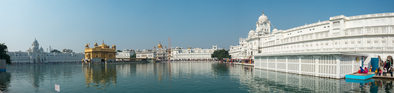 "Panoramic view of The Harmandir Sahib (Punjabi: ਹਰਿਮੰਦਰ ਸਾਹਿਬ), (The abode of God), also  called the ""Golden Temple"", which is the holiest Sikh gurdwara located in the city of Amritsar, Punjab, North India."