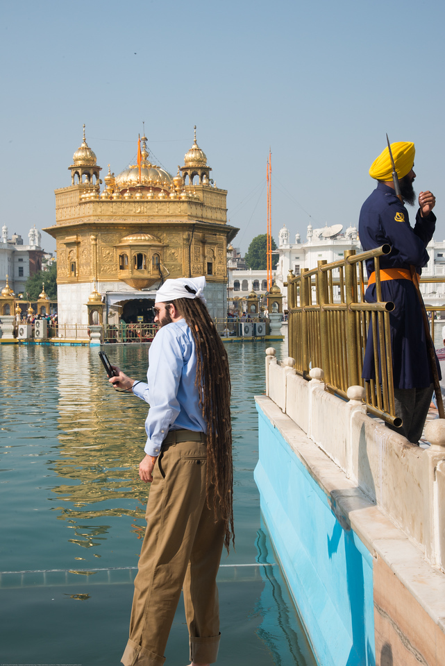 """People of all religion are welcome and many visitors come from other countries to see the Golden Temple.<br /> <br /> The Harmandir Sahib (Punjabi: ਹਰਿਮੰਦਰ ਸਾਹਿਬ), also Darbar Sahib (Punjabi: ਦਰਬਾਰ ਸਾਹਿਬ, )(The abode of God), and informally called the """"Golden Temple"""", is the holiest Sikh gurdwara located in the city of Amritsar, Punjab, North India."""