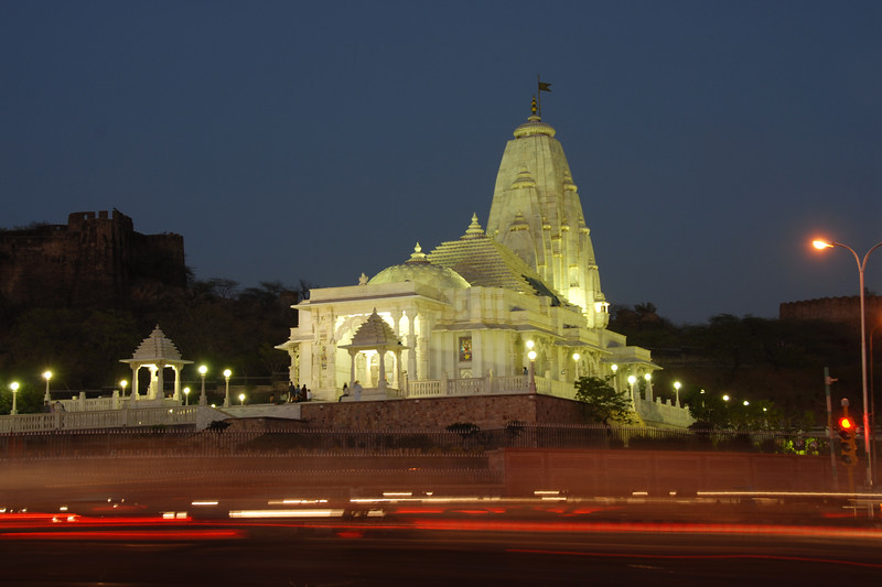 Birla Mandir. Night view of Jaipur, Rajasthan, India.<br /> <br /> Birla Mandir, a hindu temple is located on an elevated ground at the base of Moti Dungari hill in Rajasthan. The temple is sometimes also referred to as the Laxmi Narayan Temple.