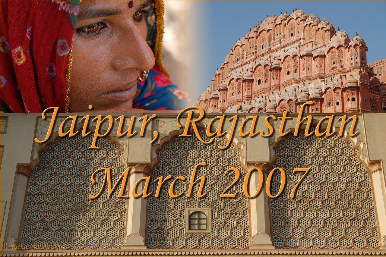"""Pictures of Jaipur - Capital of the State of Rajasthan taken March 2007. The """"Pink City"""" as the city of Jaipur is called is located about 250 Km from Delhi and is well connected by air, road and rail. Jaipur is often the starting point for tourists visiting Rajasthan. Founded by Raja Sawai Jai Singh II in 1727, Jaipur is famous for Amber Fort, Jantar Mantar, Hawa Mahal, City Palace & Sisodia Rani Ka Bagh. It is also known for the textile block prints, semi precious jewelry, handicraft items and Raj Mandhir (Movie theater).<br /> <br /> The state of Rajasthan is located in the North Western part of India. Sand dunes, wooded hills, and amazing lakes & palaces come together with men & women in colourful turbans & skirts making it an enchanting location to visit. It is a kaleidoscope of brightly turbaned men with proud moustaches and women with twinkling anklets in colorful swirling ghagras. Extremely popular with the tourists, Rajasthan is worth a visit for anyone coming to India. The mood & rhythm changes from one region to the other but what hits you most is the warm and friendly smiles across the region."""
