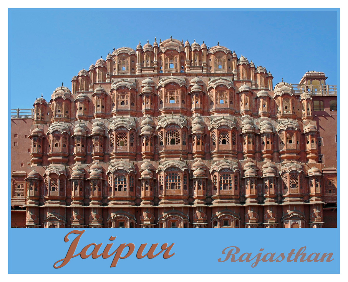 """JAIPUR - The capital city of Rajasthan also known as """"Pink City"""" and is about 250 Km from Delhi. Its often the starting point for tourists to Rajasthan. Founded by Raja Sawai Jai Singh II in 1727, Jaipur is famous for Amber Fort, Jantar Mantar, Hawa Mahal, City Palace & Sisodia Rani Ka Bagh. It is also known for the textile block prints, semi precious jewelry, handicraft items and Raj Mandhir (Movie theater)."""