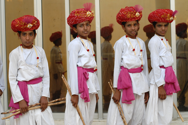 Children dressed up and ready for their song & dance performance on the occasion of the Rajasthan Day Celebrations in Jaipur, March/April 2007, India.<br /> <br /> With the aim of showcasing Rajasthan State's culture & heritage and reviving the traditional sports, cuisines and folk-art, Rajasthan Diwas Celebrations were held from 21st March to 30th March 2007. Craft-Bazaar, Food Festival, Night Bazaar, Sports competitions, spectacular fire-works, Mega Cultural Concerts, and competitions for school students were organized.