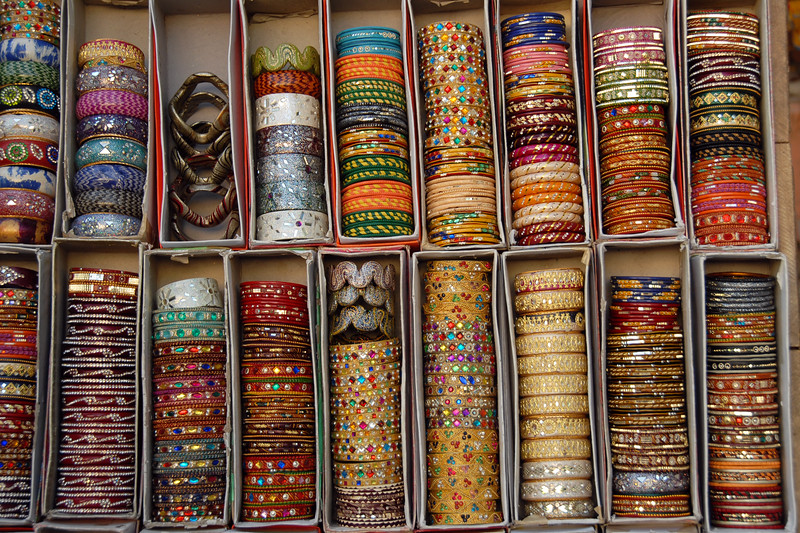<i>Choodiyan</i> Bangles being sold at Pinky Saree Centre, Jaipur, Rajasthan, India.