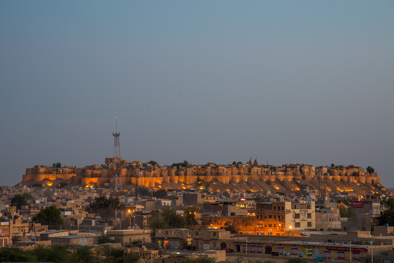 View of Jaisalmer Fort from sunset point at Vyas Chatri, Jaisalmer, Rajasthan, India. Jaisalmer, Rajasthan, India.